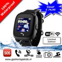 gps tracker horloge junior aqua wifi telefoon sos waterdicht waterproof zwart