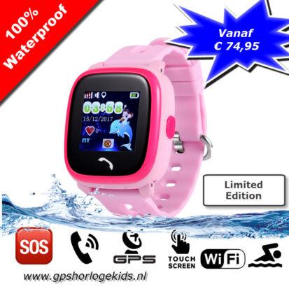 gps tracker horloge junior aqua camera telefoon sos waterdicht waterproof roze