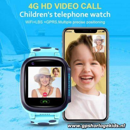 gps horloge junior 4G aqua wifi videocall telefoon sos waterdicht waterproof kind tracker lantaarn