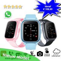 gps horloge kind SLIM junior 4G whatsapp wifi videobellen telefoon sos spatwaterdicht tracker GPSHorlogeKids